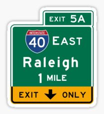 Raleigh, NC Road Sign, USA Sticker