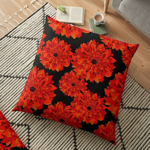 Red and Gold Dahlias on Black Floor Pillow