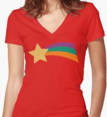 Gravity Falls Rainbow Star Mabel Pines Women's Fitted V-Neck T-Shirt