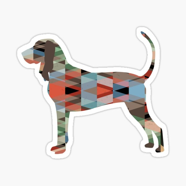 Black and Tan Coonhound Geometric Pattern Silhouette Plaid Sticker