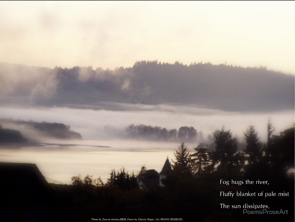 foggy sunrise over the Columbia River 2 with haiku by PoemsProseArt