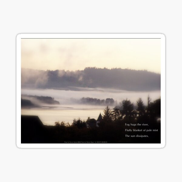 foggy sunrise over the Columbia River 2 with haiku Sticker
