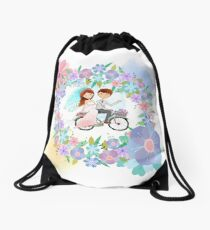 Bride and Groom on Bicycle Floral Wreath Wedding Drawstring Bag