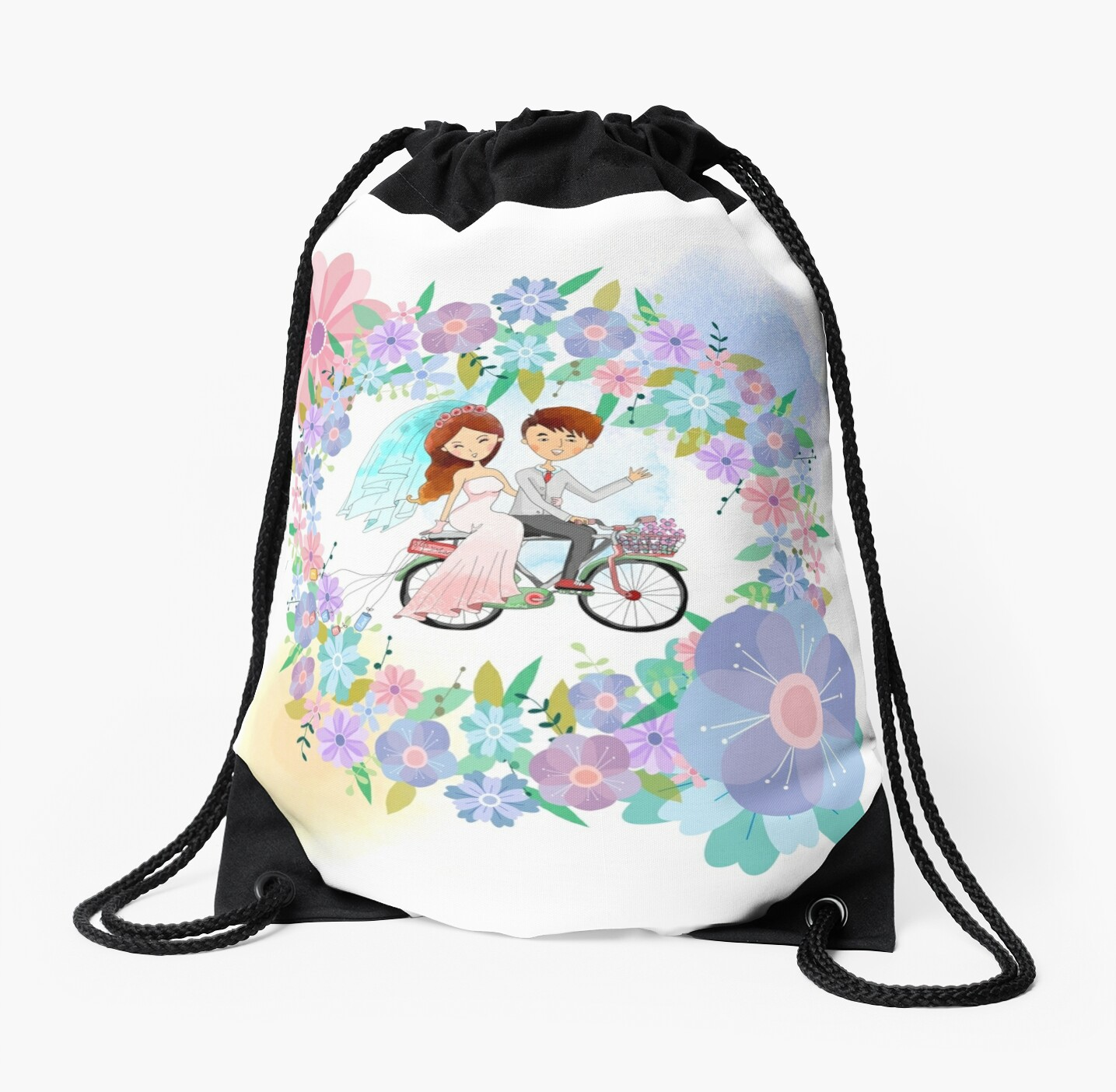 Bride and Groom on Bicycle Floral Wreath Wedding by peacockcards