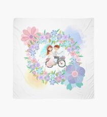 Bride and Groom on Bicycle Floral Wreath Wedding Scarf