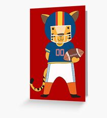 Cartoon Animals Sports Tiger Football Player Greeting Card