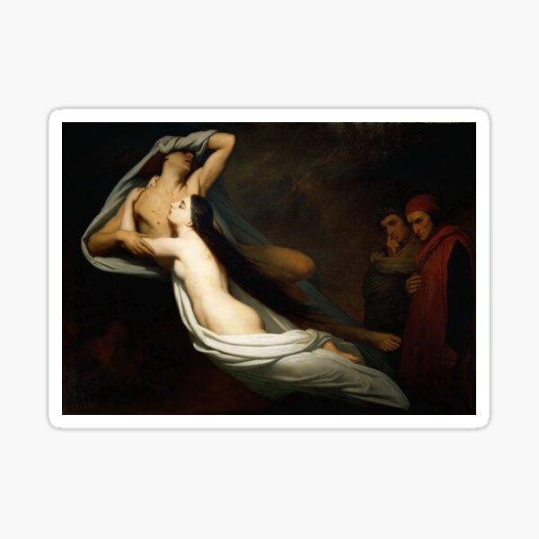 Ary Scheffer - Francesca da Rimini and Paolo Malatesta Appraised by Dante and Virgil, Romanticism Sticker