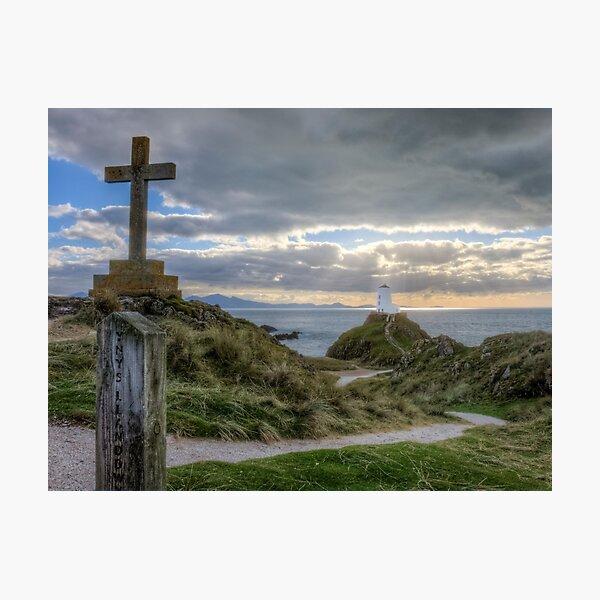 Ynys Llanddwyn lighthouse and cross Photographic Print