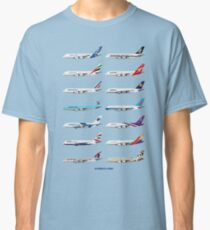 Airbus A380 Operators Illustration - Blue Version Classic T-Shirt