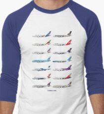 Airbus A380 Operators Illustration - Blue Version Men's Baseball ¾ T-Shirt