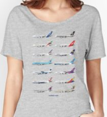 Airbus A380 Operators Illustration - Blue Version Women's Relaxed Fit T-Shirt