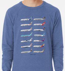 Airbus A380 Operators Illustration - Blue Version Lightweight Sweatshirt