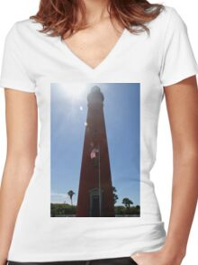 Sun Shines on Ponce de Leon Inlet Lighthouse Women's Fitted V-Neck T-Shirt
