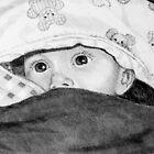 Baby, das heraus von den Decken späht: Bleistift-Zeichnung von Joyce Geleynse