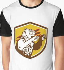 California Grizzly Bear Smirking Claw Marks Crest Retro Graphic T-Shirt