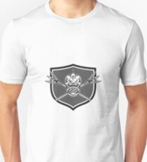 Skull Dolphin Fish Crossed Spears Crest Retro T-Shirt