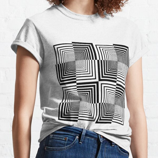 Squares, Op art, short for optical art, is a style of visual art that uses optical illusions Classic T-Shirt