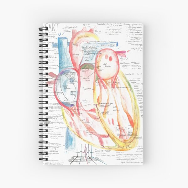 Watercolor A&P of the Heart  Spiral Notebook