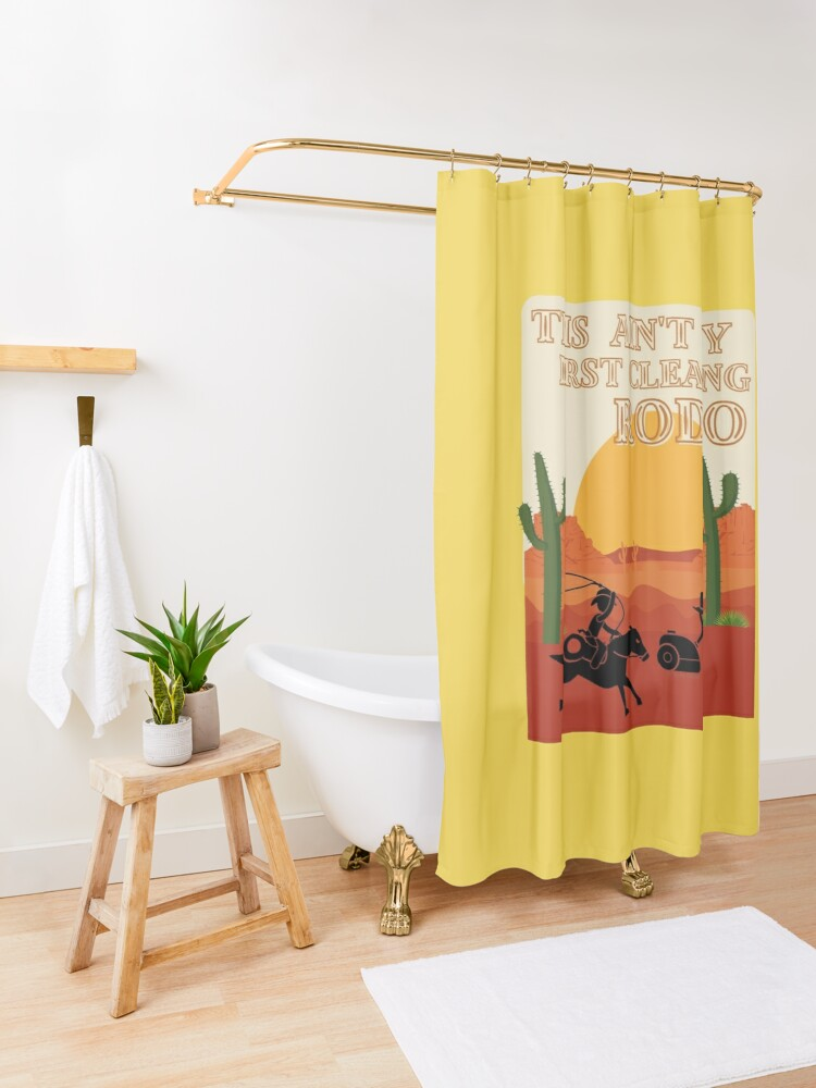 Alternate view of My First Cleaning Rodeo Housekeeping Humor Shower Curtain