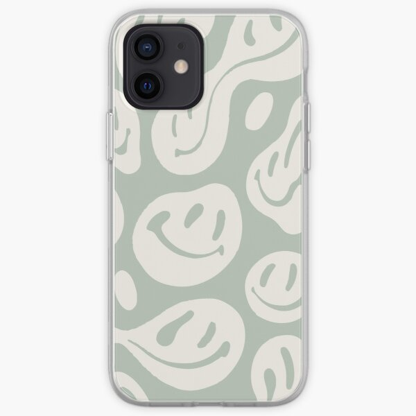 liquid smiley sage green iPhone Soft Case
