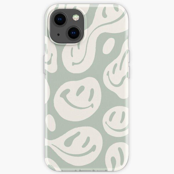 liquid smiley sage green iPhone Soft Case