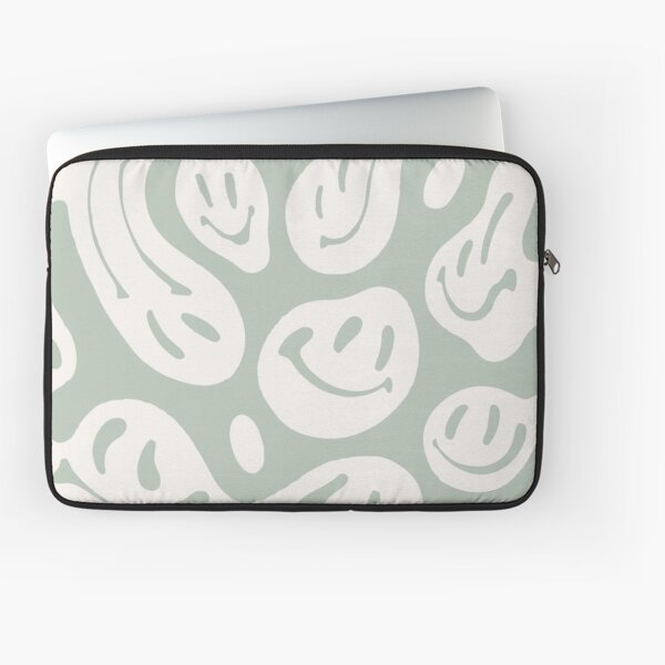 liquid smiley sage green Laptop Sleeve