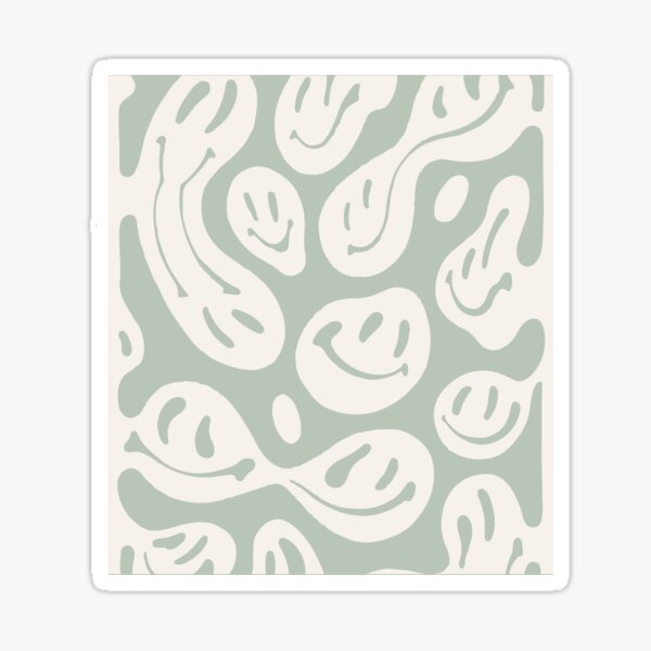 liquid smiley sage green Sticker