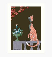Carmen, Art Deco Cat Art Print