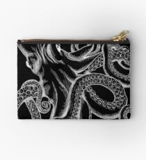 Octopus White Line Art Studio Pouch