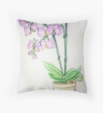 Sketch style orchid Throw Pillow