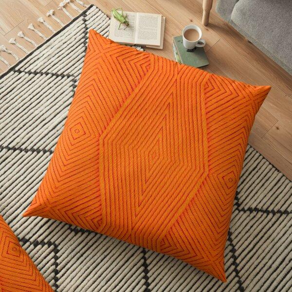 Knitting Orange Floor Pillow