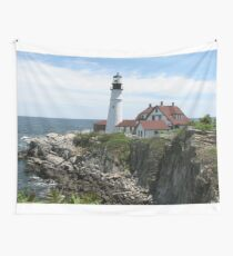 Portland Maine Lighthouse on Coast Wall Tapestry