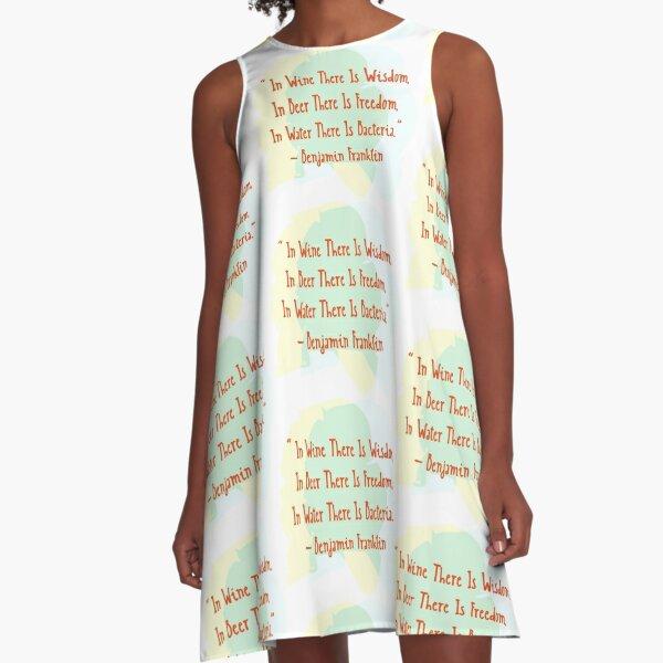 Benjamin Franklin Quotes Wine Beer Water A-Line Dress