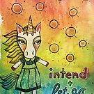 Intend and Let Go: Whimsical Unicorn Watercolor Illustration by mellierosetest