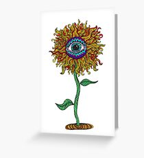 Psychedelic Sunflower - Exciting New Art - Doona is my favourite! Greeting Card