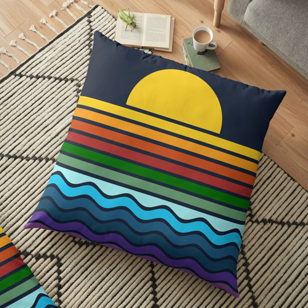 Geometric Rainbow Nature Floor Pillow