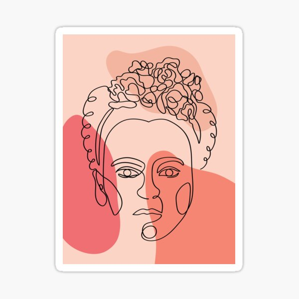 Frida Kahlo Abstract Line Art, Coral Orange Peach, Continuous Line Drawing Sticker