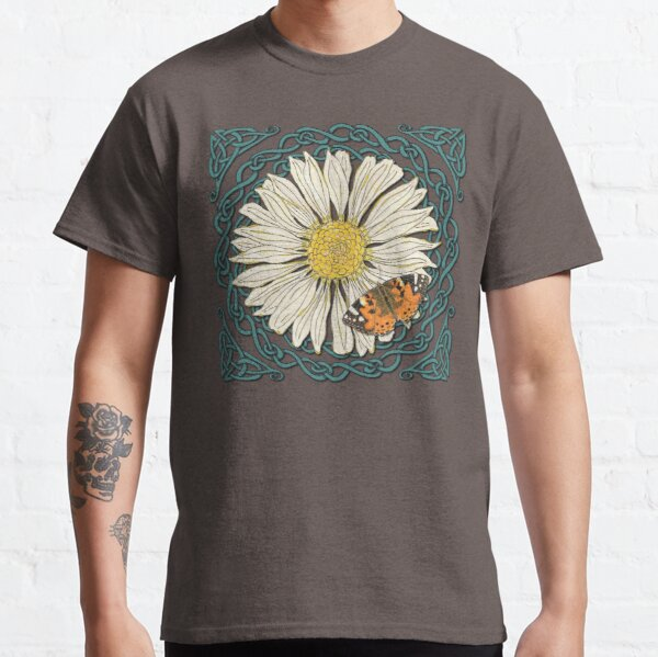 Celtic Daisy and Painted Lady Butterfly Classic T-Shirt