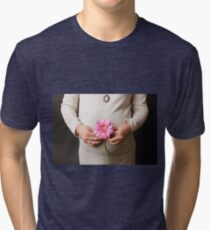pregnant woman with pink flower Tri-blend T-Shirt