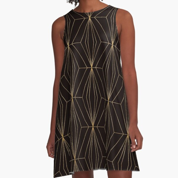Vintage style, chrystal shapes vol 4, black and gold A-Line Dress