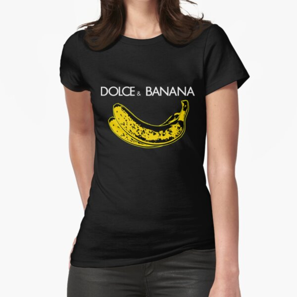 Dolce & Banana - Bananas Lovers Fruitarians Vegan Fashion  Tee / Sticker Fitted T-Shirt