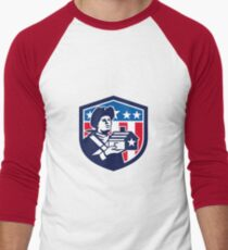 American Patriot Holding House Flag Crest Retro T-Shirt
