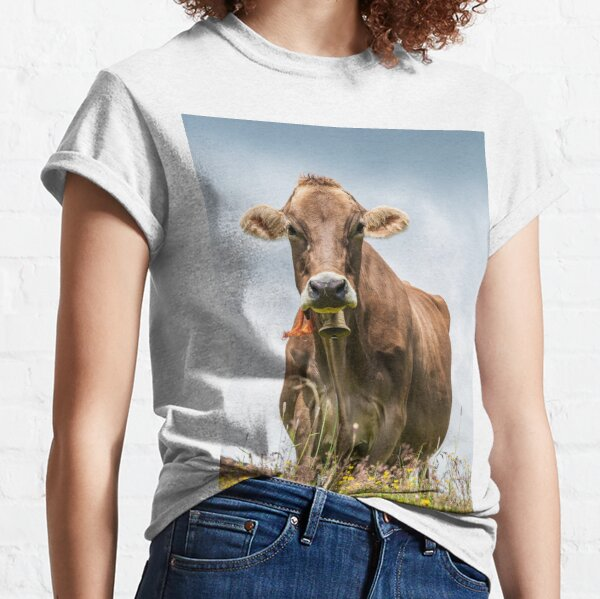 Alpine cow on a field of wildflowers on mountain top in Alps Classic T-Shirt