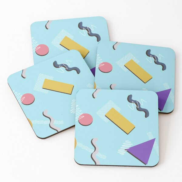 Lisa - blue Memphis style print Coasters (Set of 4)