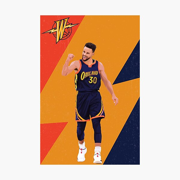 Stephen Curry Oakland Golden Illustration Photographic Print