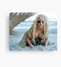 Gorgeous sexy blond on the beach Canvas Print