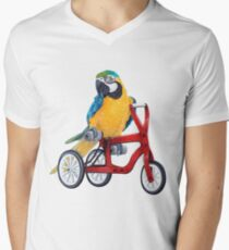 Parrot Macaw bike red Men's V-Neck T-Shirt