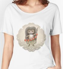 Animal Hedgehog Strawberry Women's Relaxed Fit T-Shirt