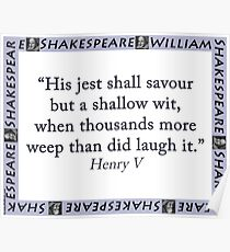 His Jest Shall Savour - Shakespeare Poster