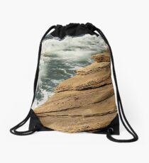 Layers of Rock at the Ocean's Edge Drawstring Bag